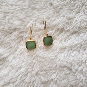 Green and Gold Square Earrings